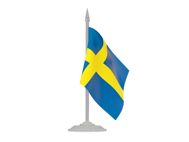 Швеция, флаг с флагштоком. . Скачать иллюстрацию